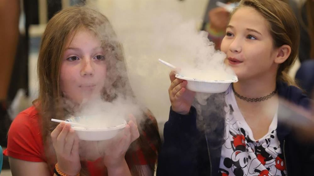 Kids breathing on dry ice